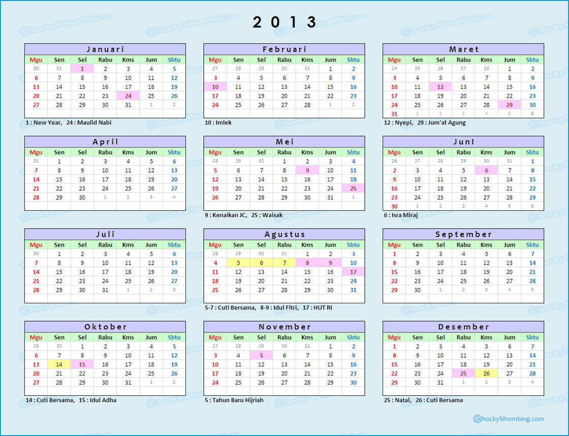 Kalender dan Libur Nasional 2013